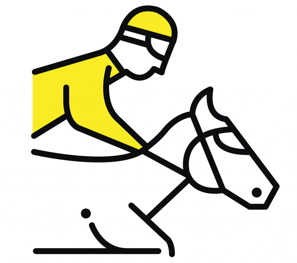 A picture of a jockey on top of a horse